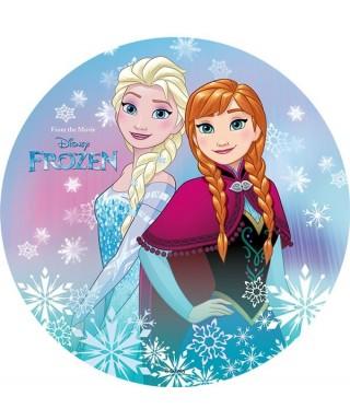 Disque Azyme Elsa et Anna entourées de flocons La Reine des Neiges