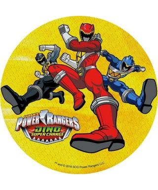 Disque en pâte à sucre Power Rangers Rouge, bleu et noir