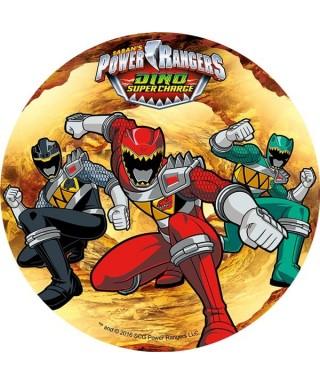 Disque en pâte à sucre Power Rangers Rouge, vert et noir