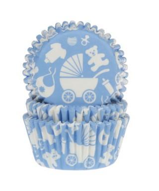 Caissette cupcake bleu Baby shower garçon pk/50 House of Marie
