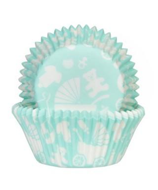 Caissette cupcake Menthe Baby shower garçon pk/50 House of Marie