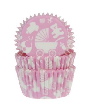 Caissette cupcake Rose Baby shower garçon pk/50 House of Marie