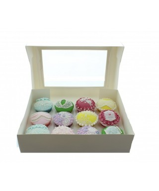 Boîte pour 12 Cupcake Blanc Satin luxe
