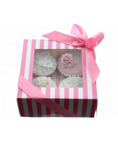 Boîte Chic pour 4 Cupcakes Rose et Blanc