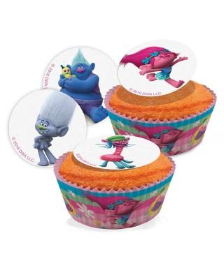 Mini disques à cupcake en sucre des Trolls