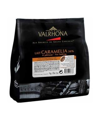 CARAMELIA 36% chocolat au lait de couverture 1Kg Valrhona